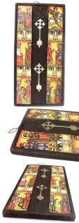 Ethiopian Coptic Woodn Icon Cross Orthodox Christian Art