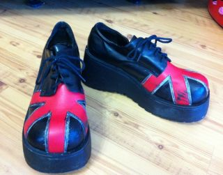 Rare Old Hot Topic Shoes Thread Platform Creepers British Flag Goth