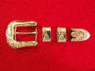 Elk Creek 4pc Engraved Sterling Silver 925 Buckle Set by Vogt