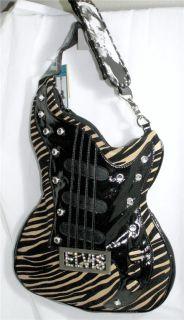 Elvis Presley Large Zebra Guitar Shaped Handbag Shoulder Bag Cross