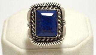 Navajo Lapis Lazuli Sterling Silver Mens Ring   Eugene Belone
