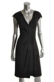 Ellen Tracy New Black Jersey Ruched Criss Cross Front V Neck Cocktail
