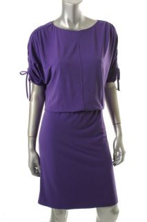 Ellen Tracy Toast of The Town Purple Cinched Jersey Blouson Wear to