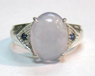 Ellensburg Blue Agate Sterling Ring w Sapphires Sz 10 2