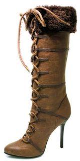 Ellie Shoes Sexy High Heel Brown Knee High Boot with Fur 4 Heel 433