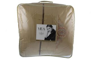 Vida Eva Mendes New Rosa Gold Embroidered 4 PC Comforter Set Bedding