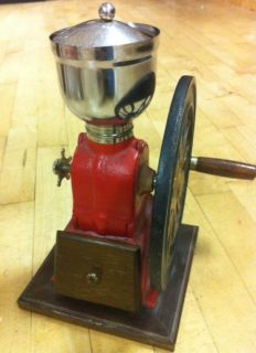 Vintage Elma Red Cast Iron Wheel Crank Coffee Grinder