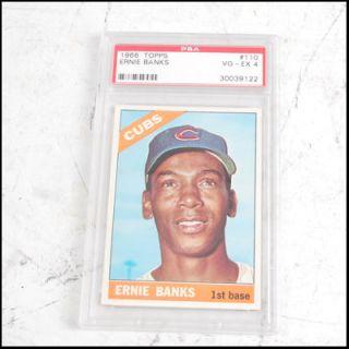 ERNIE BANKS Chicago Cubs TOPPS #110 Card PSA Graded VG 4 In PLastic