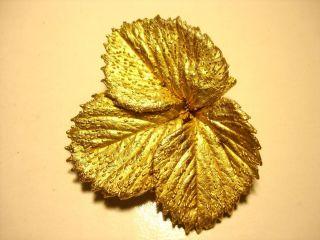 Vtg 1950s Flora Danica Eggert Denmark Sterling 925 Gold Plate Leaf