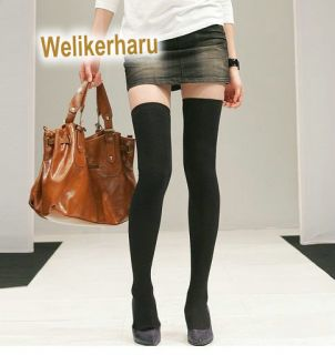 Soft Warm Womens Sexy Black Knit Thigh Knee High Sock Legging 2 Size