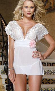 Sexy Lingerie White Bridal Deep V Lace Mini Dress Babydoll Flower Trim