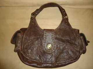 Onna Ehrlich Expresso Brown Leather Cargo Studded Shoulder Handbag