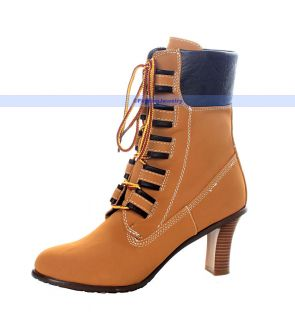 Women Sexy Apricot Lace Up High Heel Ankle Boots SZ 10  OVER 99%