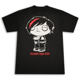 Family Guy Stewie Bloody Emo Kids Black Graphic Tee Shirt