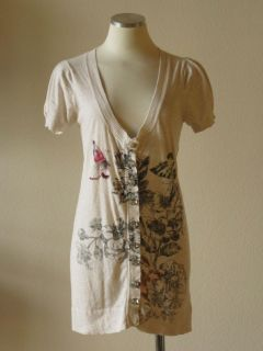 Anthropologie Charlotte Floral Butterfly Print Jewel Button Cardigan