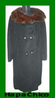MAGNIN EINIGER VINTAGE Black 100 Cashmere Brown Mink Fur Coat