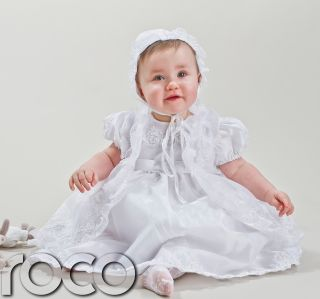 Vintage Dress on Baby Girls White Ivory Christening Dresses Embroidered Dress Bonnet