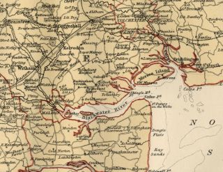 Essex County England Detailed 1889 Map showing Town; Cities