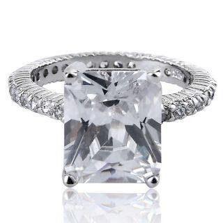 emerald cut cz cubic zirconia eternity band accent bridal wedding ring