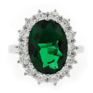 huge oval cut emerald princess kate style silver ring