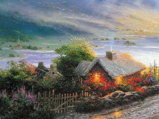 Thomas Kinkade Ireland Paintings Emerald Isle Cottage 16x20 s N