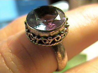 Alexandrite Ring Silver Big Gem Color Change Sterling Engagement