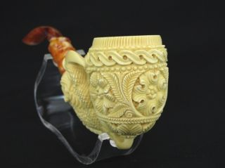 Reverse Dragon Claw Floral Egg Meerschaum Pipe by Emin