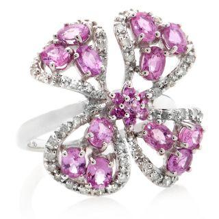 Pink Sapphire White Diamond Silver Flower Ring   2.65ct