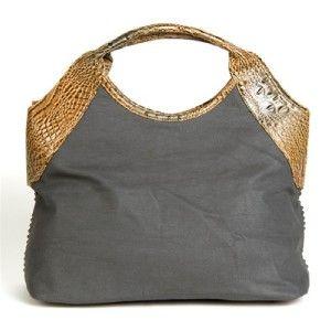 Blue Elegance Gray Crystal Stud Croco Trim Tote Handbag