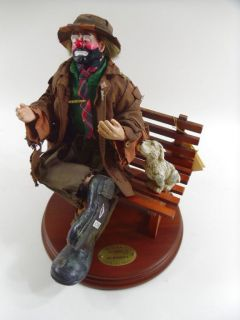 Emmett Kelly Real Rags Flambro Big Business 2 Sad Clown Figurine