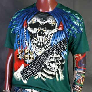 AA0006GR Artful Couture Skull Guitar Emo Music T Shirt XL