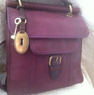 Fossil Emory Crossbody Flap Purple Leather Bag Handbag NWT ZB4869515