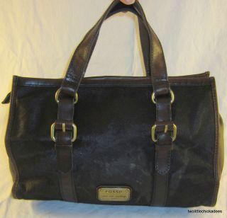 Fossil Emory Satchel Green Black Brown Calf Hair Bag Fall Tote ZB4877