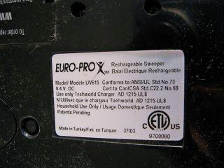 Euro Pro Shark UV615 Cordless Rechargeable Lightweight Sweeper Vacuum