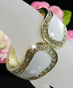 Elegant White Enameled Bangle Crystals Gold Hinged Bangle Bracelet