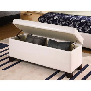 Modern Entry Accent Storage Bench Faux Pure White Leather New