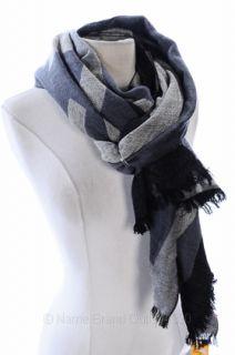 Tory Burch Black Grey Cloud Milk Opal Reva Wool Logo Fringed Scarf $