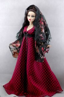 Evangeline Ghastly 17 doll outfit red dress gown floral shawl