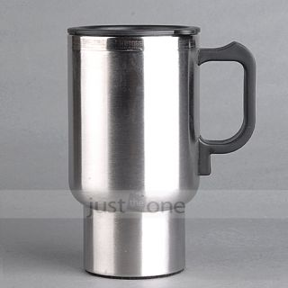 Electric Heated Stainless Steel Mug Hot Coffee Drink Travel Cup