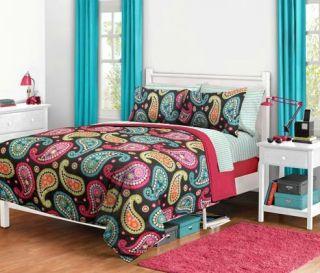 Black Paisley Comforter Bedding Set Size Twin XL Extra Long