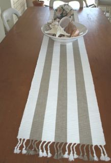 Beige Striped Table Runner French Provincial Fringed