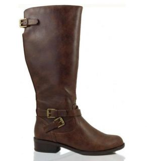 Womens Riding Boot Equestrian Tall Faux Leather Buckle Sodashoes Bio