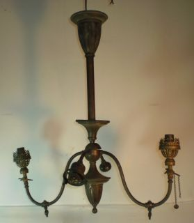 Antique Brass Gas Electric Light Fixture 4 Arms Parts