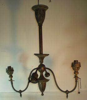 Antique Brass Gas Electric Light Fixture 4 Arms Parts