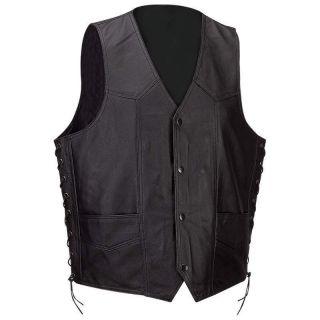 Solid Leather Motorcycle Biker Riding Vest Waist Coat M L XL 2XL 3XL