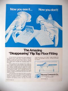 Raceway Components Flip Top Electrical Floor Outlet 1979 Print Ad