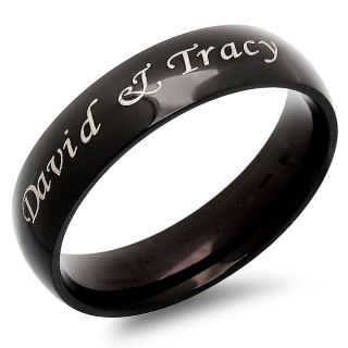 6mm Stainless Steel Black Shiny Ring Free Engraving