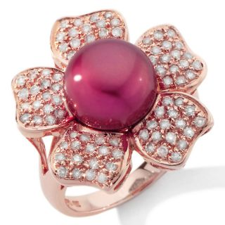 Cranberry Cultured Fresh Water Pearl and Diamond 14K Rose Gold Flower