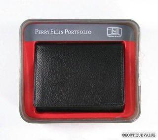 perry ellis black grain leather tri fold wallet nib