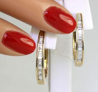 Shimmering 65C 43 Baguette F Color Diamond 14k Yellow Gold Oblong Hoop